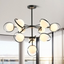 Black 3-Layer Ball Chandelier Lighting Contemporary 10 Heads Frosted White Glass Pendant with Iron Ring