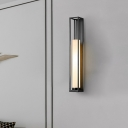 Tube Living Room Wall Flush Mount Light White Glass 1-Bulb Modernist Sconce in Black with Rectangle Backplate