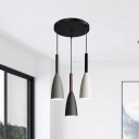 Iron Small Bell Multi Light Pendant Contemporary 3 Heads Black Ceiling Hang Fixture
