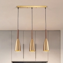 Metallic Bullet Multi Light Pendant Contemporary 3-Head Gold Hanging Lamp Kit with Linear Canopy