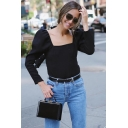 Elegant Ladies Long Sleeve Square Neck Solid Color Relaxed Fit T-Shirt in Black