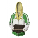 Green Trendy Long Sleeve Drawstring Zipper Front Geo Printed Color Block 3D Cosplay Relaxed Fit Hoodie