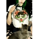 Fashionable Short Sleeve Round Neck The Powerpuff Girl Printed Fitted Crop Tee Top
