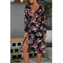 Trendy Fancy Long Sleeve Surplice Neck All Over Floral Printed Slit Side Midi A-Line Dress