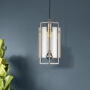 Cylinder Dining Room Pendant Ceiling Light Clear/Tan/Gray Glass 1 Light Modern Suspension Light
