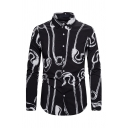 Designer Boys Long Sleeve Lapel Collar Button Down All Over Pin Printed Slim Fitted Shirt