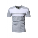 Casual Mens Short Sleeve V-Neck Color Block Slim Fitted Tee Top
