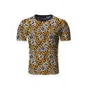 Fashionable Mens Short Sleeve Crew Neck All Over Floral Leopard Patterned Slim Fit T Shir
