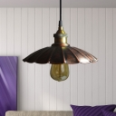 1 Light Pendant Light Industrial Restaurant Hanging Lamp with Scalloped Metallic Shade in Copper, 10