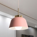 Pink Bowl Hanging Light Fixture Nordic Style 1-Light Iron Ceiling Pendant Lamp over Dining Table