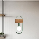 Oval Ring Metal Suspension Light Minimalist 1-Bulb Green/Grey Finish Ceiling Hang Fixture with Rectangle Wood Deco