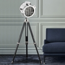 1 Bulb Standing Floor Lighting Industrial Cylinder Metal Spotlight in Black/Wood with Tripod for Living Room