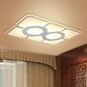 Rectangle Ceiling Flush Mount Modernism Acrylic LED White Flush Light Fixture with Hexagon Pattern in Warm/White Light