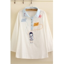 Preppy Girls Long Sleeve Lapel Neck Button Up Cartoon Embroidered Contrasted Relaxed Fit Shirt in White