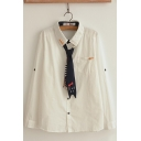 Leisure Girls Long Sleeve lapel Neck Button Down Embroidered Cat Print Tie Pocket Panel Relaxed Shirt in White