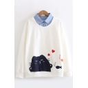 Casual Womens Long Sleeve Lapel Collar Button Up Cartoon Cat Printed False Two Piece Loose Pullover Sweatshirt