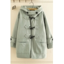Casual Classic Long Sleeve Button Up Button Detail Solid Color Relaxed Duffle Coat