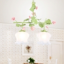Traditional Bell Hanging Pendant 2 Heads White Glass Chandelier Lighting Fixture in Green for Living Room