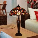Decorative Umbrella Table Light Metal 1 Bulb Nightstand Lamp in Purple/Red/Yellow with Urn Base