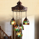 5 Heads Wide Flare Pendant Chandelier Traditional Copper Metal Hanging Ceiling Light