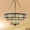 Metal Brass Ceiling Lighting Multifaceted 7 Lights Art Deco Semi Flush Light Fixture for Restaurant