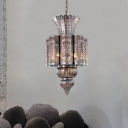 Metal Bronze Chandelier Light Fixture Scalloped 4 Bulbs Arabic Hanging Lamp Kit for Restaurant