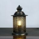 Oval/Cylinder Cafe Night Table Lighting Arab Metal 1 Bulb Black Nightstand Light, 5