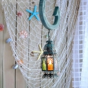 Blue Lantern Suspension Lighting Arabian Metal 1 Bulb Dining Room Pendant Light Fixture