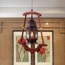 Metal Copper Suspended Lighting Fixture Lantern 1 Head Traditional Hanging Ceiling Light for Restaurant