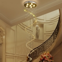Modern 6 Heads Suspension Lighting Gold Spiral LED Multi Light Pendant with Beveled Crystal Shade
