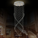 6 Lights Living Room Multi Light Pendant Contemporary Silver LED Suspended Lighting Fixture with Cascade Crystal Shade