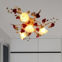 Pastoral Scalloped Ceiling Mounted Fixture 4 Lights Metal Flower Semi Flush Mount Lighting in Coffee