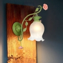 Opal Glass Green Wall Light Flower 1 Head Country Style Wall Mount Lamp for Bedroom