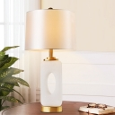 Fabric Tapered Drum Nightstand Lamp Modernism 1 Bulb Reading Book Light in White