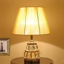 Gold Wide Flare Desk Lamp Modernism 1 Head Fabric Table Light with Clear Crystal Base