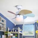 6 Blades Living Room Ceiling Fans Lamp Kids Wood LED White Semi Flush Lamp, 30