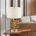 Contemporary 1 Head Reading Light Gold Tapered Drum Small Desk Lamp with Fabric Shade