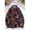 Fashionable Guys' Black Long Sleeve Lapel Collar All Over Cartoon Print Button Down Loose Fit Shirt