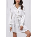 Leisure Women's Long Sleeve Lapel Collar Button Down Tied Waist Ruched Mini A-Line Shirt Dress in White