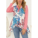 Fancy Girls Long Sleeve V-Neck Button Front Flower Patterned Panel Asymmetric Hem Relaxed Tee