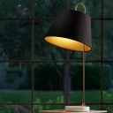 Contemporary 1 Head Task Lighting Black Tapered Reading Book Light with Fabric Shade