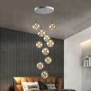 Minimalist Spherical Cluster Pendant Amber Glass 10 Bulbs Stair Suspension Lighting Fixture