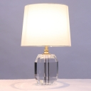 Cone Desk Light Modernism Fabric 1 Bulb White Night Table Lamp with Crystal Base, 18