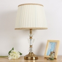 Contemporary 1 Head Reading Light Gold Tapered Drum Night Table Lamp with Fabric Shade