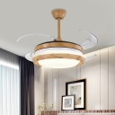 LED Ceiling Fan Lighting Modern Living Room 4 Blades Semi Flush Lamp with Dome Acrylic Shade in Wood, 48