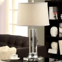 Fabric Drum Desk Light Modern 1 Head White Reading Lamp with Cylindrical Clear Crystal Base