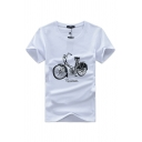 Men's Trendy Short Sleeve Crew Neck Bicycle Printed Fitted Graphic T Shirt