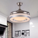 Metallic Ring 4 Blades Ceiling Fan Light Contemporary Living Room LED Semi Flush Lamp in Silver/Gold with Remote Control, 36