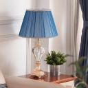 Shaded Desk Light Modern Fabric 1 Bulb Blue Table Lamp, Carved Gold Metallic Base