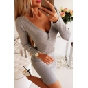 Edgy Looks Girls' Long Sleeve Deep V-Neck Half Zipper Sheer Mesh Patched Lace Trim Solid Color Mini Tight Dress